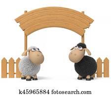 3d illustration lamb with a billboard