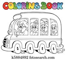 Clipart Ausmalbilder Mit Schule Und Bus K4788873 Suche Clip
