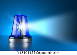 Blue alarm police light on toned background