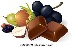 Chocolate, raisins and hazelnuts