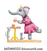 Cute watercolor girl elephant in a pink dress. Tea party.