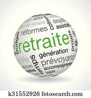 French Retirement theme sphere with keywords