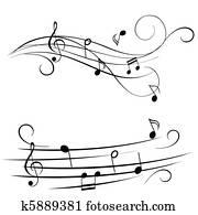 melodie, auf, notenlinien