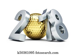 New Year 2018 golf ball gold