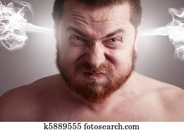 Stress concept - angry man with exploding head