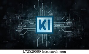 AI - Artificial Intelligence background (in german KI - Kuenstliche Intelligenz Hintergrund) - Abstract concept of cyber technology