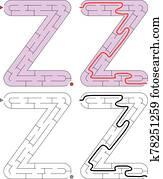 Easy alphabet maze - letter Z