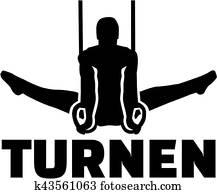 Gymnastics german word with man exercising at rings