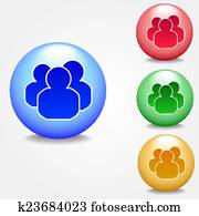 Set of colorful group people icon