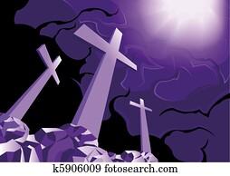 Crosses on Golgotha and light of resurrection
