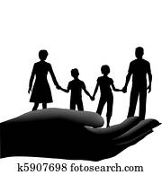 Mother father kids family safe secure in hand