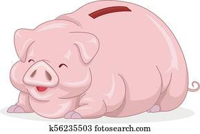 Piggy Bank Fat Illustration
