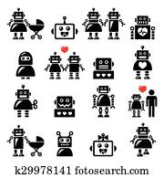 Robot family, female, baby robot