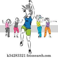 zumba dancers group illustration C