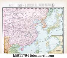 Antique Color English Map of China, Korea, Japan