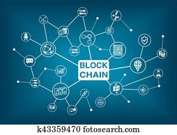 blockchain, wort, mit, heiligenbilder, als, vektor, abbildung
