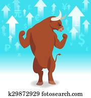 Bull market presents uptrend stock market concept in background