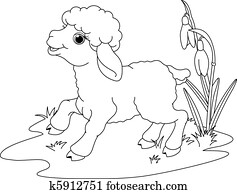 Easter lamb. Coloring page