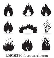 Flame and fire symbols