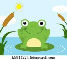 frosch, karikatur, zeichen