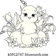 Happy Easter chick. Coloring page