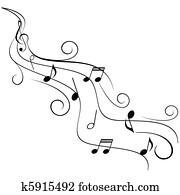 musik merkt, auf, wirbel, notenlinien