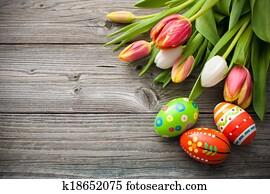 ostereierbilder, mit, tulpen