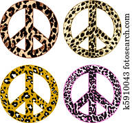 peace symbol with leopard print