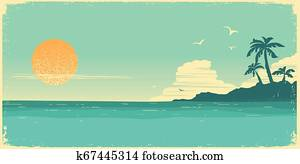 Tropical island paradise. Vintage poster background with palms and sea waves