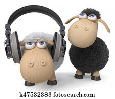 3d illustration sheep listen to the music