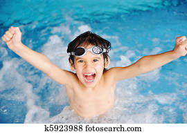 Activities on the pool, children swimming and playing in water, happiness and summertime