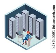 Data center icon, system administrator. Man sitting at the computer in server room. Vector illustration in isometric projection, isolated on white.