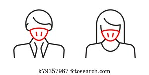 Man in face mask line icon
