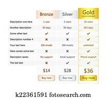 Pricing table with bronze, silver and gold plan