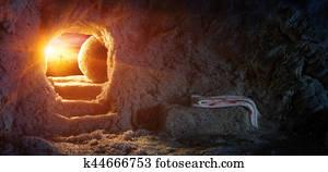Tomb Empty With Shroud And Crucifixion At Sunrise - Resurrection Of Jesus