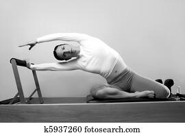 black and white pilates woman sport fitness portrait