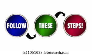 Follow These Steps Plan Process Procedure System 3d Illustration
