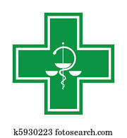 Medical cross - symbol with snake - illustration