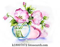 Spring flowers in vase, watercolor painting