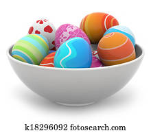 easter eggs in a white bowl