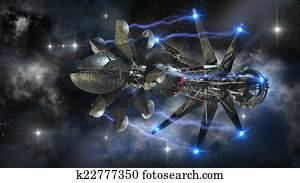 Futuristic military spacecraft