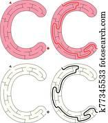 leicht, alphabet, labyrinth, -, buchstabe c
