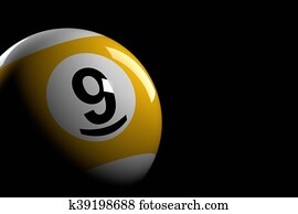 Pool Ball Number 9, 3D Rendering