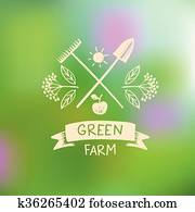 vektor, logo, grün, farm., logo, organische, essen.