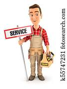 3d handyman with service sign and toolbox