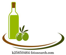 background with olive oil and olives