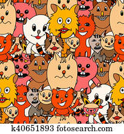 Cute cats colorful background