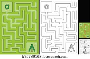 Easy alphabet maze - letter A