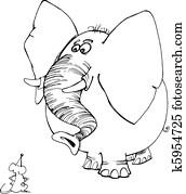 Clipart Maus Und Elefant Fur Ausmalbilder K5954733 Suche