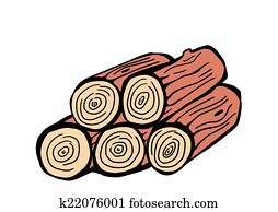 hand drawn wood logs